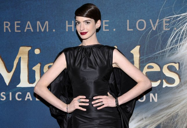Anne Hathaway arrives on the red carpet at the 'Les Miserables' premiere at Ziegfeld Theater in New York City on December 10, 2012. UPI/John Angelillo