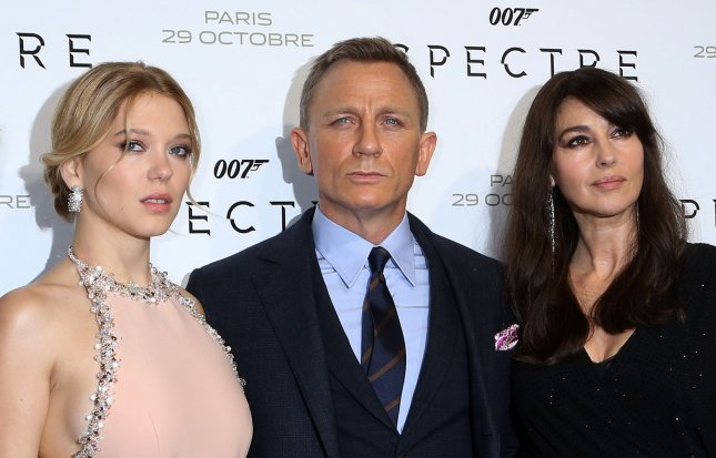 Lea Seydoux (left), Daniel Craig and Monica Bellucci arrive at the French premiere of the new James Bond film Spectre in Paris on Oct. 29, 2015. Photo by David Silpa/UPI.