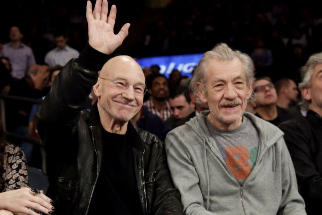 Longtime friends and frequent collaborators Patrick Stewart and Ian McKellen in a February 24, 2014 file photo by John Angelillo/UPI