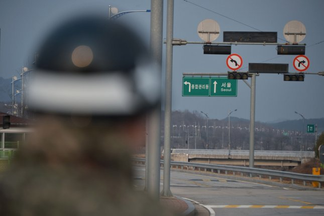 A South Korean soldier stands guard at the Dorasan Station in the Civilian Control area near the demilitarized zone (DMZ) in Paju, South Korea. Seoul's foreign ministry confirmed six-party envoys of the United States, South Korea and Japan have reaffirmed their willingness to take steps necessary toward North Korea denuclearization. Photo by Keizo Mori/UPI