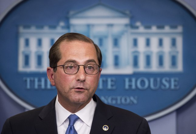 Human Services Secretary Alex Azar said Thursday that premiums for benchmark plans under the Affordable Care Act will decline by 2 percent. File Photo by Kevin Dietsch/UPI