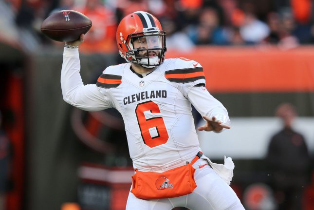 Baker Mayfield and the Cleveland Browns take on the Denver Broncos on Saturday night. Photo by Aaron Josefczyk/UPI