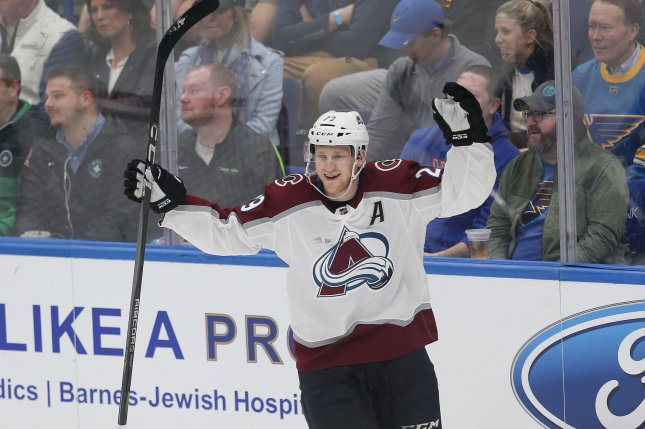 Colorado Avalanche forward Nathan MacKinnon was injured in Game 7 against the San Jose Sharks during the second round of the playoffs. File Photo by Bill Greenblatt/UPI