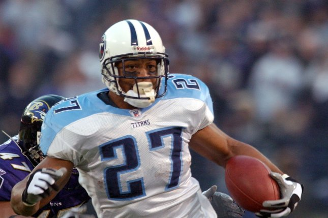 Former Tennessee Titans running back Eddie George (27) will replace Ron Reed, who had been with Tennessee State University since 2010. File Photo by Roger L. Wollenberg/UPI