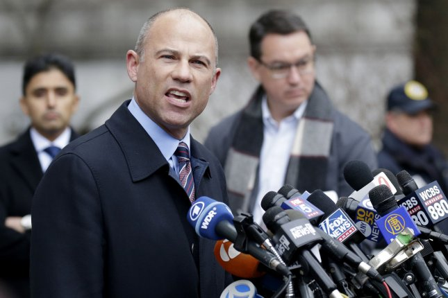 Attorney Michael Avenatti speaks after President Donald Trump's longtime personal lawyer Michael Cohen exits Manhattan Federal Court in New York City on December 12, 2018. Avenatti was sentenced to 2 1/2 years in prison Thursday. File Photo by John Angelillo/UPI