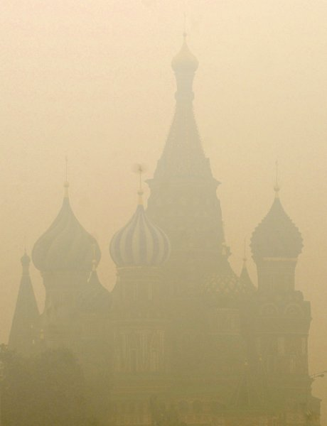 St. Basil's Cathedral is seen through a heavy smog on Red Square in Moscow on August 6, 2010. Russian capital was blanketed in record thick smoke causing by temperatures up to 100 F (38 C) and several days of nearby forest and peat fires. UPI/Alex Volgin