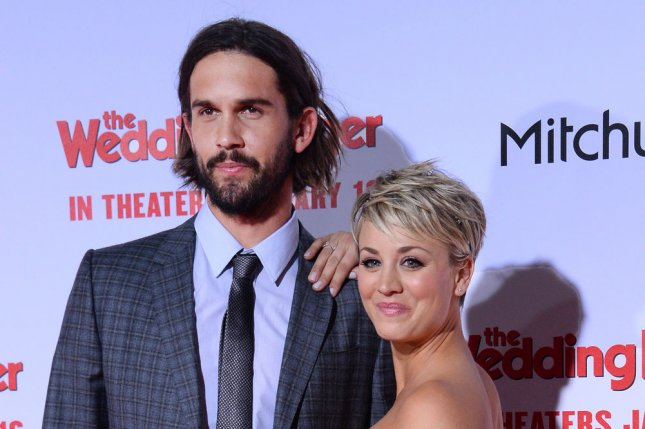 Kaley Cuoco (R) and Ryan Sweeting at the Los Angeles premiere of 'The Wedding Ringer' on January 6, 2015. Sweeting is seeking spousal support from the actress in their divorce. File photo by Jim Ruymen/UPI