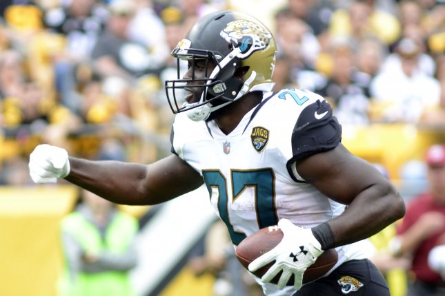 Jacksonville Jaguars running back Leonard Fournette (27) celebrates his two yard touchdown against the Pittsburgh Steelers in the second quarter on October 8 at Heinz Field in Pittsburgh, Pa. Photo by Archie Carpenter/UPI