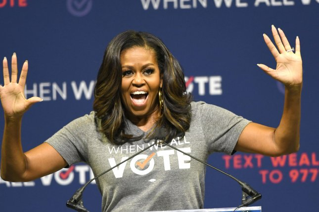 Michelle Obama talks about the importance of voting at the When We All Vote rally in Miami on Friday. The former first lady is to take part in a Today show special celebrating International Day of the Girl next week. Photo by Gary I Rothstein/UPI