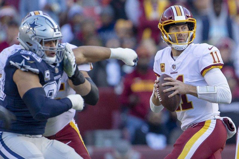 Alex Smith and the Washington Redskins take on the Houston Texans on Sunday. Photo by Tasos Katopodis/UPI