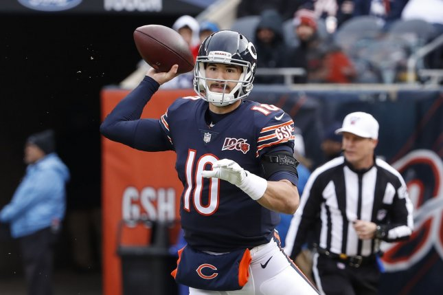 Chicago Bears quarterback Mitchell Trubisky threw for a season-high 338 yards and three scores in a win against the Detroit Lions Thursday in Detroit. Photo by Kamil Krzaczynski/UPI