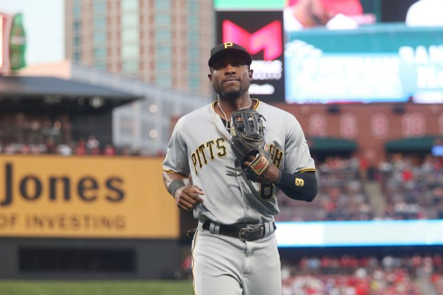 Former Pittsburgh Pirates outfielder Starling Marte was traded to the Arizona Diamondbacks this past off-season. In 33 games this season, he has recorded a .311 batting average with two home runs and 14 RBIs. File Photo by Bill Greenblatt/UPI