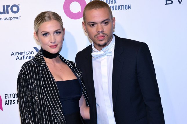 Ashlee Simpson (L) and Evan Ross attend the Elton John AIDS Foundation Academy Awards viewing party on February 28, 2016. The singer enjoyed a trip to Universal CityWalk with Ross, son Bronx and daughter Jagger on Sunday. File Photo by Christine Chew/UPI