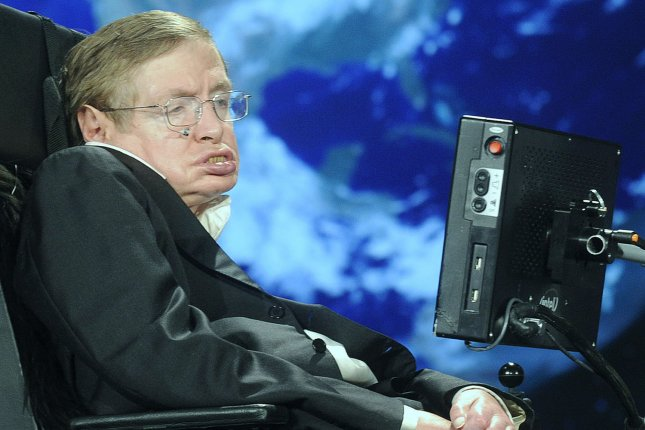 Physicist Stephen Hawking's last scientific paper, submitted on March 4, predicts the end of the universe and the existence of parallel universes, co-author Thomas Hertog said. File Photo by Kevin Dietsch/UPI