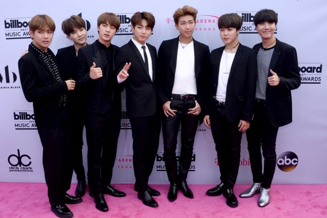 BTS took to the stage during its second appearance on The Late Late Show with James Corden. File Photo by Jim Ruymen/UPI