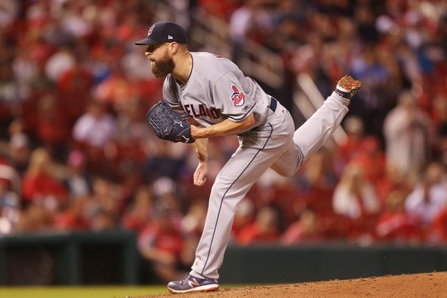 Cleveland Indians starting pitcher Corey Kluber delivers a pitch to the St. Louis Cardinals in the second inning on June 26 at Busch Stadium in St. Louis. Photo by Bill Greenblatt/UPI