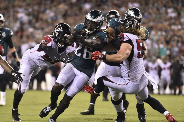 Philadelphia Eagles running back Jay Ajayi (26) converts a two-point conversion during the second half of an NFL football game against the Atlanta Falcons on Sept. 7 at Lincoln Financial Field in Philadelphia. Photo by Derik Hamilton/UPI