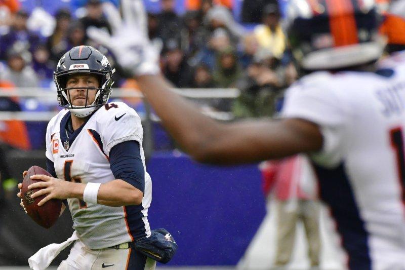 Denver Broncos Quarterback Case Keenum 4 Looks For Receiver Courtland Sutton R During The Second Half Against The Baltimore Ravens On September 23