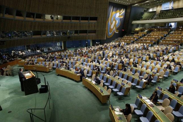 The United Nations General Assembly passed a resolution voicing grave concern over the militarization of Crimea and the Russian occupation of Ukrainian territory. File Photo by John Angelillo/UPI