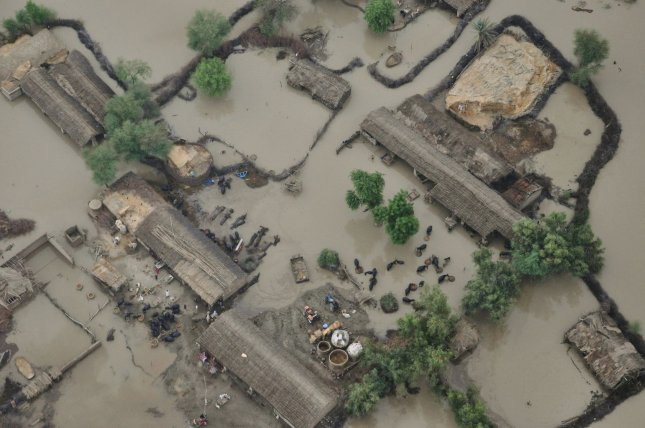 An aerial view from a Pakistan army rescue helicopter shows the flooded area of Sukkur in the Sindh province of Pakistan on August 7, 2010. Torrential rains frustrated aid efforts in Pakistan, with some helicopters grounded as authorities battled to help 15 million people affected by the country's worst floods ever. UPI/Sajjad Ali Qureshi