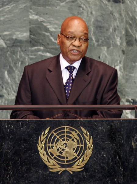 President of the Republic of South Africa Jacob Zuma speaks at the 64th United Nations General Assembly in the UN building in New York City on September 23, 2009. UPI/John Angelillo