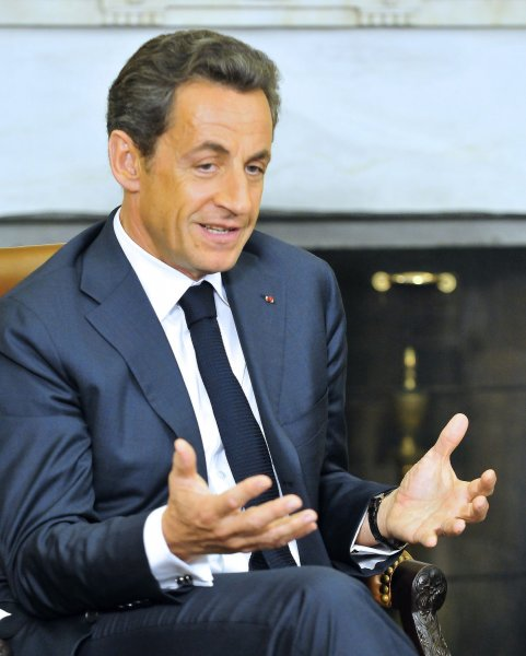 President Nicolas Sarkozy of France holds a bilateral meeting with United States President Barack Obama (not pictured) in the Oval Office of the White House in Washington on January 10, 2011. UPI/Ron Sachs/POOL
