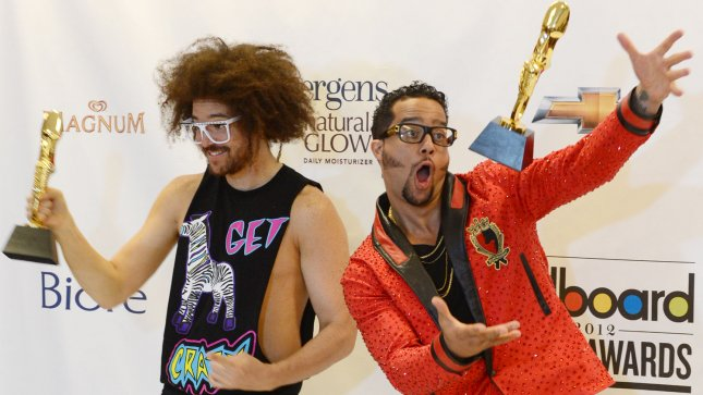 Redfoo and SkyBlu of LMFAO hold their awards for Top Duo/Group of Year at the 2012 Billboard Music Awards held at the MGM Grand Hotel in Las Vegas, Nevada on May 20, 2012. UPI/Jim Ruymen.