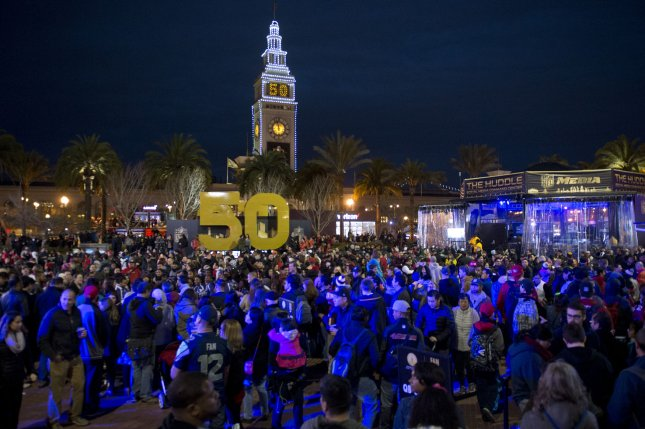 Football fans crowd into Super Bowl City, a party venue built along the Embarcadero in San Francisco on January 30, 2016. The week long party is San Francisco's celebration for Super Bowl 50, held in Santa Clara, California. Photo by Terry Schmitt/UPI