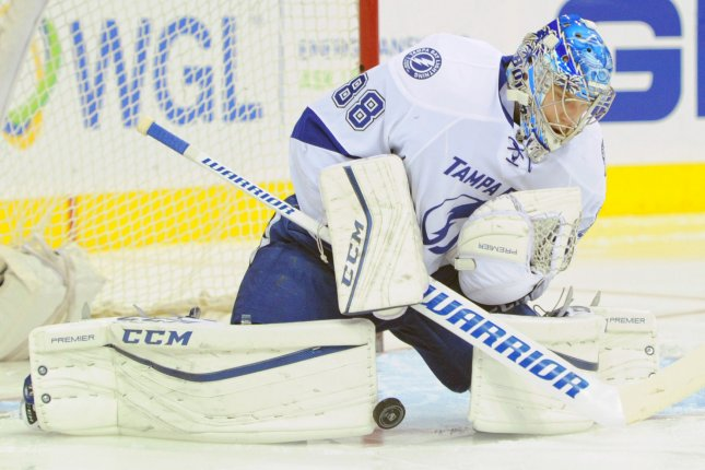 Andrei Vasilevskiy needed only one save in the final 15 minutes of the game to help the Tampa Bay Lightning rally for a 5-4 win over the Chicago Blackhawks on Monday night at Amalie Arena. File Photo by Mark Goldman/UPI