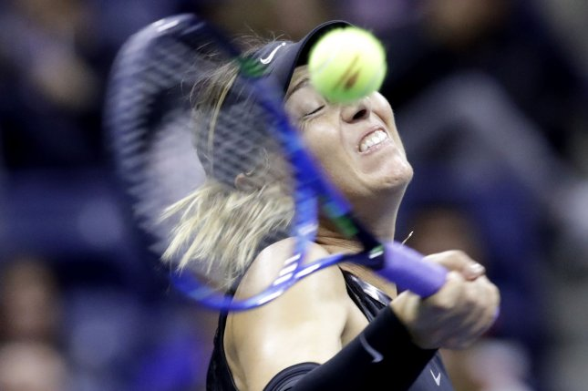 Maria Sharapova of Russia hits a forehand to Sofia Kenin in their 3rd round match on day 5 in Arthur Ashe Stadium at the 2017 US Open Tennis Championships at the USTA Billie Jean King National Tennis Center on Friday in New York City. Photo by John Angelillo/UPI