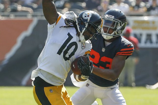 Pittsburgh Steelers wide receiver Martavis Bryant (10) is defended by Chicago Bears cornerback Kyle Fuller (23) during the first half on September 24, 2017 at Soldier Field in Chicago. File photo by Kamil Krzaczynski/UPI