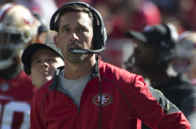 San Francisco 49ers coach Kyle Shanahan watches the replay of a 49ers fumble in the second quarter against the Dallas Cowboys on October 22 at Levi's Stadium in Santa Clara, Calif. Photo by Terry Schmitt/UPI