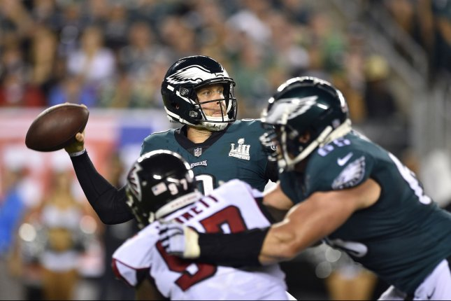 Philadelphia Eagles quarterback Nick Foles (9) throws the ball during the second half of an NFL football game against the Atlanta Falcons at Lincoln Financial Field in Philadelphia on September 6. Photo by Derik Hamilton/UPI