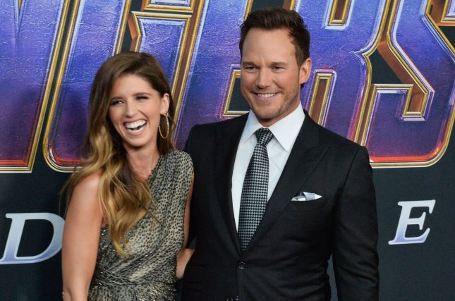 Married couple Chris Pratt (R) and Katherine Schwarzenegger. Schwarzenegger wished Pratt a happy Father's Day on social media. File Photo by Jim Ruymen/UPI