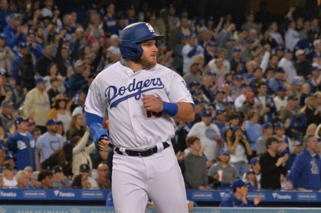 Los Angeles Dodgers first baseman Max Muncy hit two home runs against the Colorado Rockies on Thursday. File Photo by Jim Ruymen/UPI