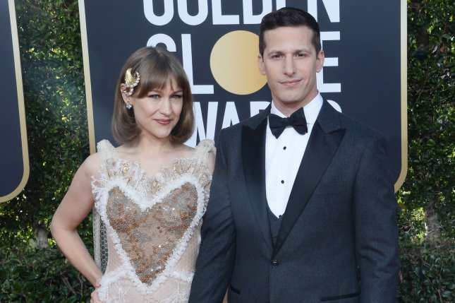 Andy Samberg (R), pictured with Joanna Newsom, will host the new Quibi series Biggest Little Cook-Off. File Photo by Jim Ruymen/UPI