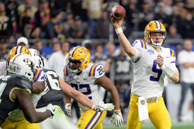 LSU Tigers quarterback Joe Burrow (R) is the favorite to win the Heisman Trophy after throwing an SEC-record 48 touchdown passes this season. File Photo by Art Foxall/UPI