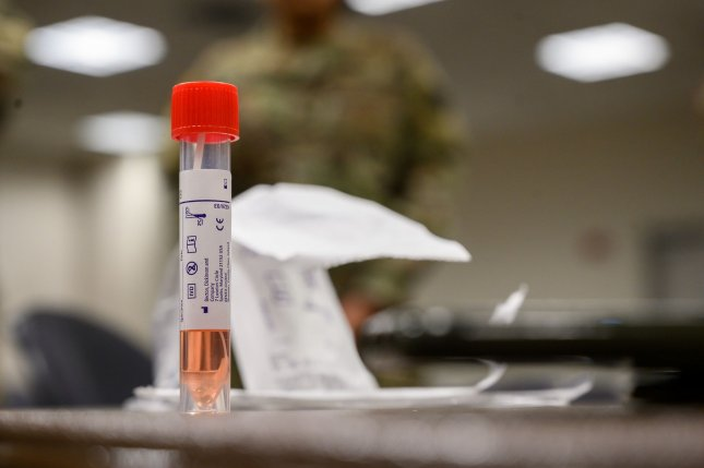 A coronavirus testing sample awaits shipment at a site in Paramus, New Jersey, on March 20. File Photo by Spc. Michael Schwenk/U.S. Army National Guard/UPI