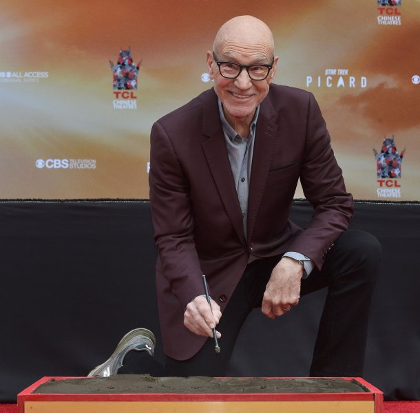 Patrick Stewart participates in a hand and footprint ceremony immortalizing him in the forecourt of the TCL Chinese Theatre in the Hollywood section of Los Angeles on January 13. The actor turns 80 on July 13. File Photo by Jim Ruymen/UPI