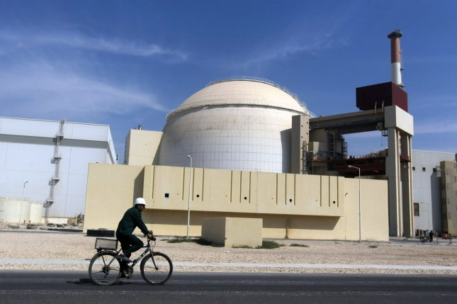 A nuclear power plant is seen in Bushehr, Iran, about 745 miles south of Tehran. File Photo by Mehr News Agency/Majid Asgarpour/UPI