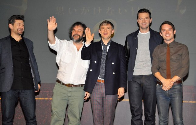 (L-R) Actor Andy Serkis, Director Peter Jackson, actors Martin Freeman, Richard Armitage and Elijah Wood attend a press conference for the film The Hobbit: An Unexpected Journey in Tokyo, Japan, on December 1, 2012. The film will open on December 14 in Japan. UPI/Keizo Mori