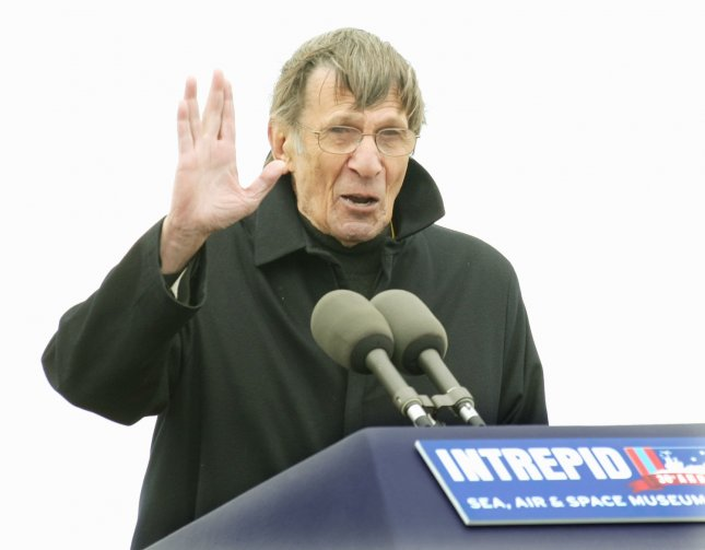Leonard Nimoy, who played the character Mr. Spock in the TV series Star Trek, speaks at a ceremony following the landing of the Space Shuttle Enterprise at John F. Kennedy International Airport on April 27, 2012 in New York City. Enterprise is part of NASA's retired space shuttle program and will be permanently displayed at the Intrepid Sea, Air & Space Museum starting in June. UPI/ Monika Graff