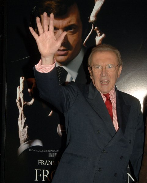 Sir David Frost arrives for the New York premiere of the film Frost/Nixon which is based on his taped conversations with former President Nixon on November 17, 2008. (UPI Photo/Ezio Petersen)