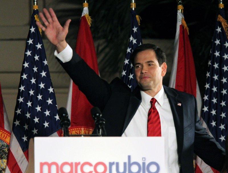 Florida Republican senator elect Marco Rubio celebrates his election during the Reclaim America Victory Celebration at the Biltmore Hotel in Miami on November 2, 2010. UPI/Martin Fried