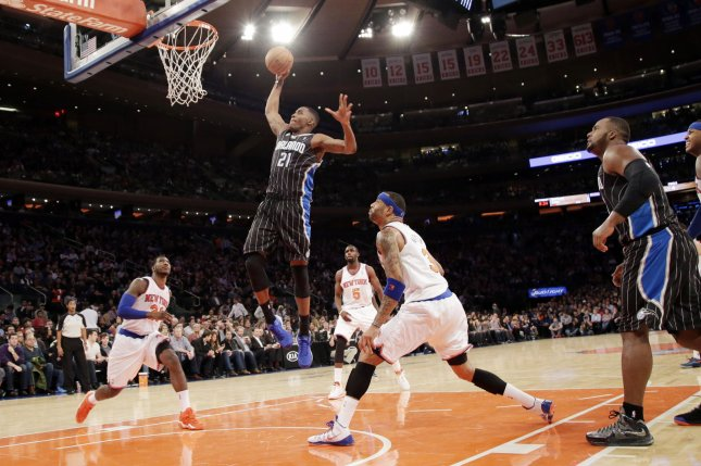 Orlando Magic Maurice Harkless leaps to the basket in the first half against the New York Knicks at Madison Square Garden in New York City on December 6, 2013. The Knicks defeated Magic 121-83. UPI/John Angelillo