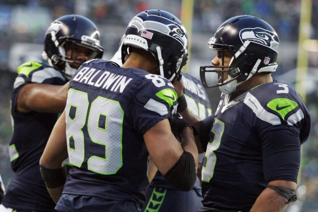 Seattle Seahawks quarterback Russell Wilson and wide receiver Doug Baldwin. Photo by Jim Bryant/UPI