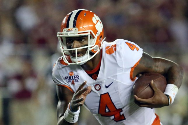 Clemson Tigers' quarterback Deshaun Watson runs against the Florida State Seminoles in the first quarter on Bobby Bowden Field at Doak Campbell Stadium, Tallahassee, Florida on October 29, 2016. Photo by Robert Cannon/UPI