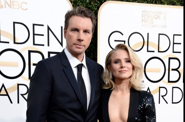Dax Shepard (L) and Kristen Bell attend the Golden Globe Awards on January 8. The couple share two daughters. File Photo by Jim Ruymen/UPI