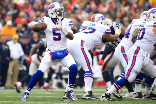 Buffalo Bills quarterback Tyrod Taylor (5) drops back for a pass in the first quarter against the New England Patriots at Gillette Stadium in Foxborough, Massachusetts on October 2, 2016. Photo by Matthew Healey/ UPI