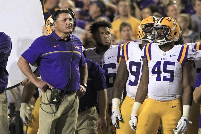 LSU Tigers head coach Ed Orgeron looks up at the scoreboard at Tiger Stadium during a game against the Alabama Crimson Tide on November 5, 2016 in Baton Rouge, Louisiana. File photo by AJ Sisco/UPI